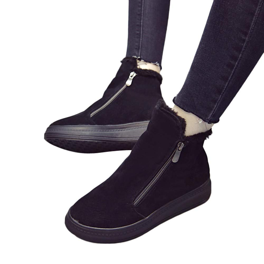 Womens Chelsea Boots, Winter High-top Flat Bottom Martin Ankle Boots Platform Chunky Thick-Soled Shoes Size 5.5-8 (Black, 5.5 B(M) US)