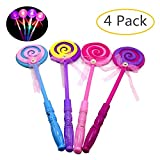 GbaoY 4 Pcs LED Light up Flashing Fairy Magic Wand Princess Love Heart and Lollipop Shaped Stick Girl Xmas Gift Random Color (Style2)
