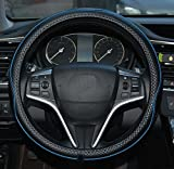 Automotive : Rueesh Microfiber Leather Car Steering Wheel Cover, Soft Padding, Durable, No Smell, Universal 15 Inch Steering Cover, Anti-slip Embossing Pattern A, Black with Blue Line