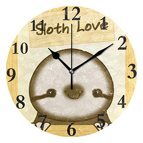 HangWang Wall Clock Cute Sloth Love Silent Non Ticking Decorative Round Digital Clocks Indoor Outdoor Kitchen Bedroom Living Room