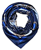 100% Polyester Silk Feeling 35' Kerchief Neck Scarf for Women Chains Navy by corciova