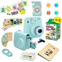 Cámara instantánea Fujifilm Instax Mini 9 HIELO AZUL c /película y accesorios - Kit de cámara Polaroid