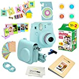 Fujifilm Instax Mini 9 Camera ICE BLUE + Fuji INSTAX Instant Film (20 SHEETS) + 14 PC Instax Accessories kit Bundle, Includes; Instax Case + Album + Frames & Stickers + Lens Filters + MORE