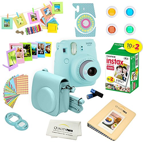 Fujifilm Instax Mini 9 Instant Camera w/Fujifilm Instax Mini 9 Instant Films (20 Pack) + A14 Pc Deluxe Bundle for Fujifilm Instax Mini 9 Camera (ice blue)