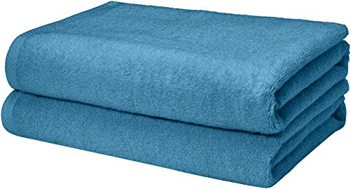 AmazonBasics Quick-Dry Bath Towels, 100% Cotton, Set of 2, Lake Blue