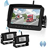 Wireless Backup Camera For Trailer/RV /Truck Digital Signals No Interruption Rear View Car Camera With 7 inch Monitor Two Cameras Reverse Kit Night Vision Waterproof Easy Installation