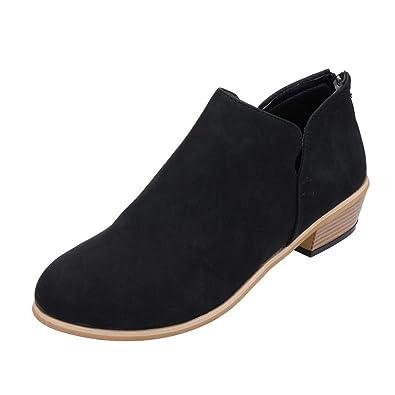 efbd73de1 FIRENGOLI Womens Casual Chunky Heel Short Boots Non-Slip Cute Bootie Black  35