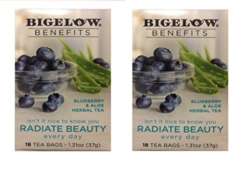 Bigelow Benefits Blueberry & Aloe Herbal Tea , Pack of 2
