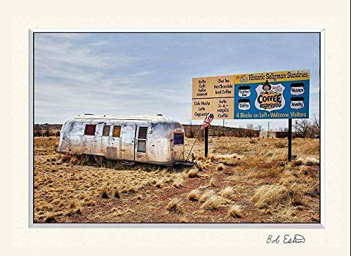 11 x 14 inch mat including a fine art photograph of nostalgic aluminum Airstream Trailer parked on old Route 66 in Arizona.