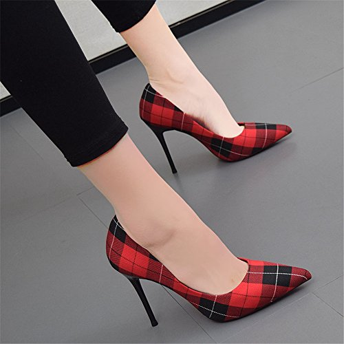 Schuhe Feine High Arbeit Heeled Schuhe Plaid Fashion XZGC Spitzen 1OxSw