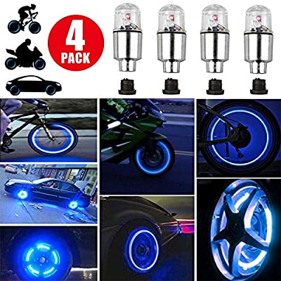 4Pcs Blue LED Wheel Lights -Bike Tire Valve Stem Neon Light Bulb For Car Motorcycle Wheel Tyre Valve Dust Cap, Safety, Waterproof, Motion Activated, Spoke Flash Lights Car Valve Stems Caps Accessories: Sports & Outdoors