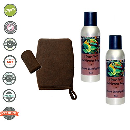 Tampa Bay Tan U Tou Can Tan Self Tanning Spraytan Aerosol Dark Unscented 2 - 8 oz cans with Applicater Mitt by Tampa Bay Tan
