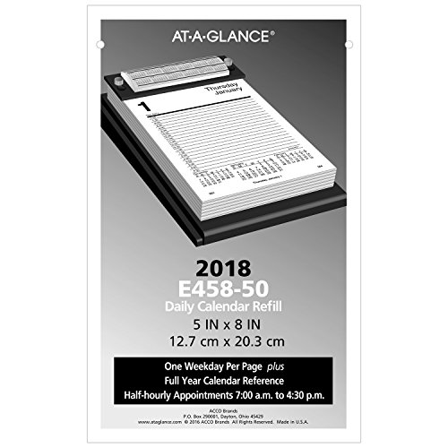 AT-A-GLANCE Daily Desk Calendar Refill 2018, 5