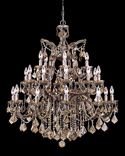 Antique Brass / Golden Teak Hand Polished Maria Theresa 26 Light Candle Style Crystal ()