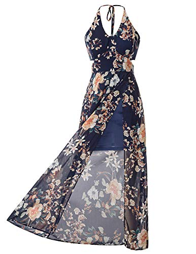 Jasambac Sexy Maxi Dresses for Women Slits Tie Back Prom Dress Size 2XL Color -