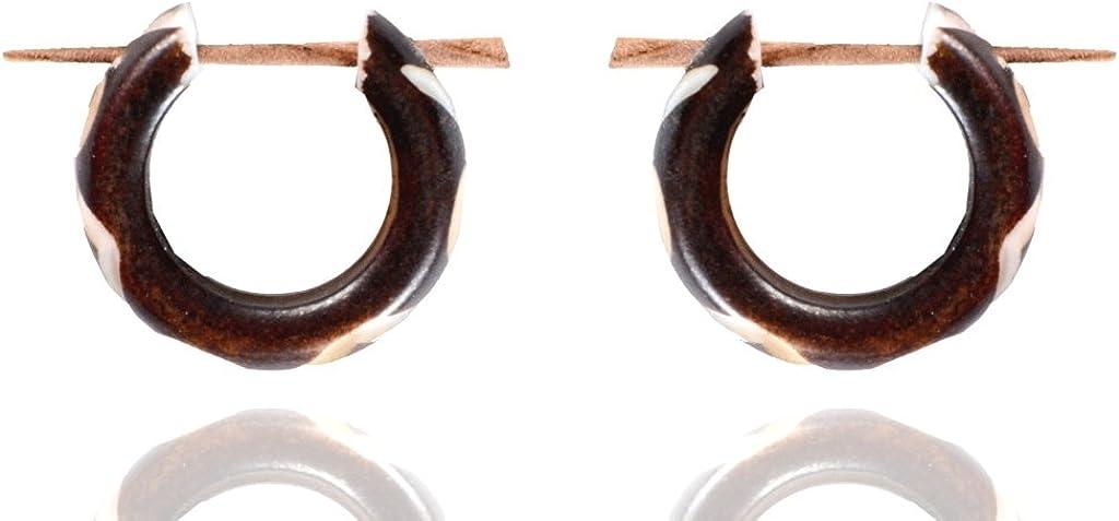 Ethnic Art India Tibetan Antique Handmade Bone Carving Wood Stick Earring WER478