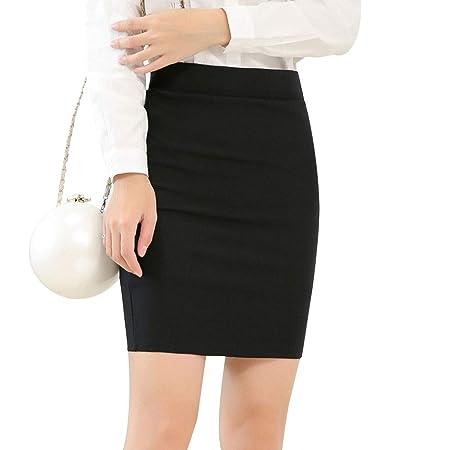 LanLan Falda Elegante elástica de Color Negro para Mujer, Falda ...