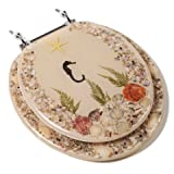 Comfort Seats C1B6R9-SHCH Acrylic Toilet Seat with Chrome Hinges, Round, Seahorse
