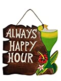 NEW VIBRANT PAINTED HANDCARVED WOOD ''ALWAYS HAPPY HOUR'' SIGN WITH DRINK GLASS!