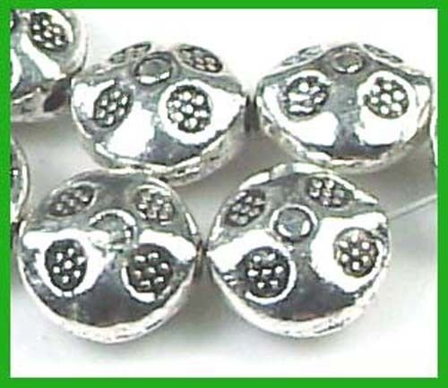 20 Silver Pewter Thai Karen Style Imprint Lentil Beads, Beading, Jewelry Making, DIY Crafting, Arts & Sewing by Perfect Beeds Store