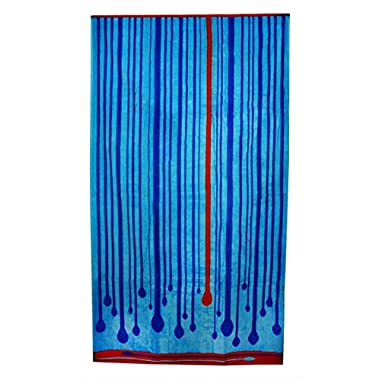 Northpoint Kerala Oversized Double Jacquard Plush Velour Beach Towel, 40 by 70-Inch, Blue Circles of Bliss