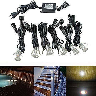 Lámparas LED Ø18mm 0.4W Mini escalera empotrada SET focos 6pcs IP67 a prueba de agua al aire libre luces de piso de luz LED (Blanco caliente): Amazon.es: Bricolaje y herramientas