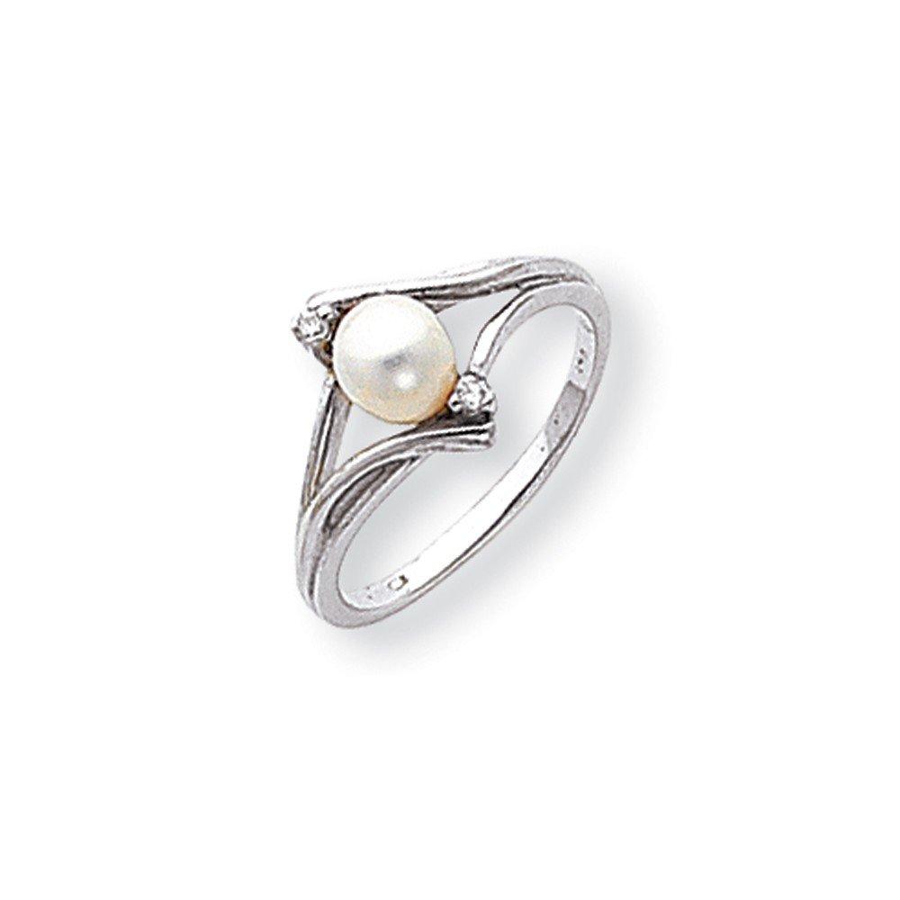 Jewelry Adviser Rings 14k White Gold 5mm FW Cultured Pearl VS Diamond ring Diamond quality VS VS2 clarity, G-I color
