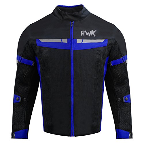 HWK Mesh Motorcycle Jacket Riding Air Motorbike Jacket Biker CE Armored Breathable (Large, Blue) by HHR