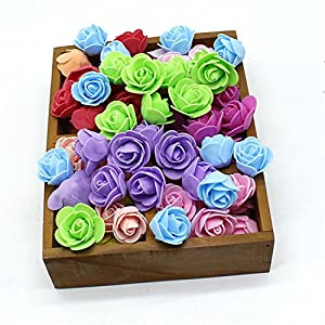 FOAM ROSES Fake flower heads PE imitation flower head artificial flower gift box cheap DIY party festival Home Decor wedding decoration clipbook Diy headdress 50 pcs (Colorful) 55