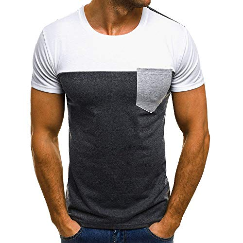 Men's T-Shirts Summer Casual Short Sleeve Tee Fashion Patchwork Slim Tops with Pocket White