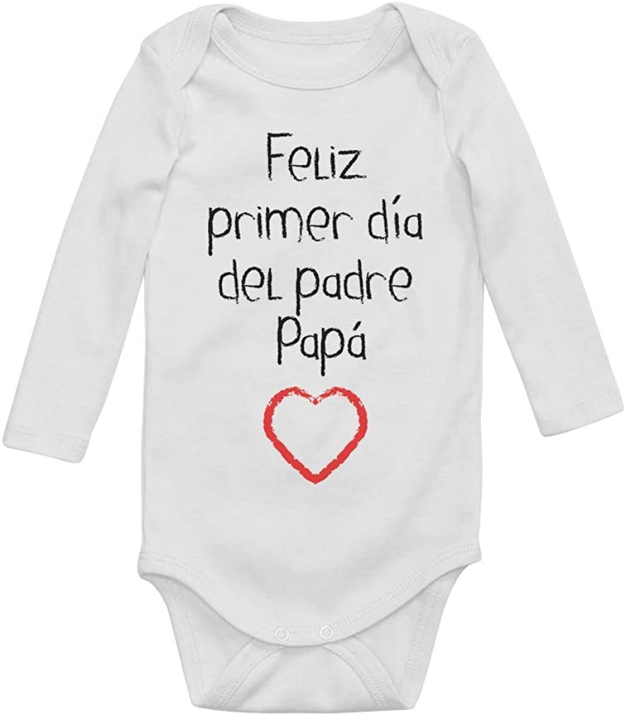 Body de Manga Larga para bebé - Regalo Padre Bebe - Feliz Primer Día del Padre -