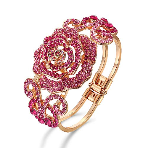 (EVER FAITH Gold-Tone Rose Flower Bud Pink Austrian Crystal Bracelet)