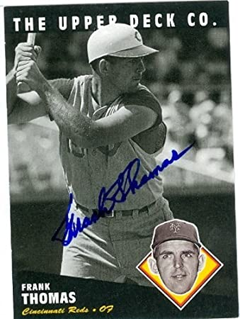 Frank Thomas Autographed Baseball Card Cincinnati Reds New York