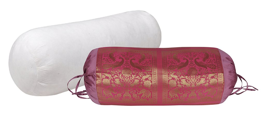 Indian Handmade Elephant Peacock Design Silk Bolster Pillow With Cover 30 X 15 Inches