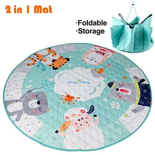 43.4 Inches Kids Play Mat Foldable and Washable Toy Organizer Storage Cotton Baby Activity Round Rug