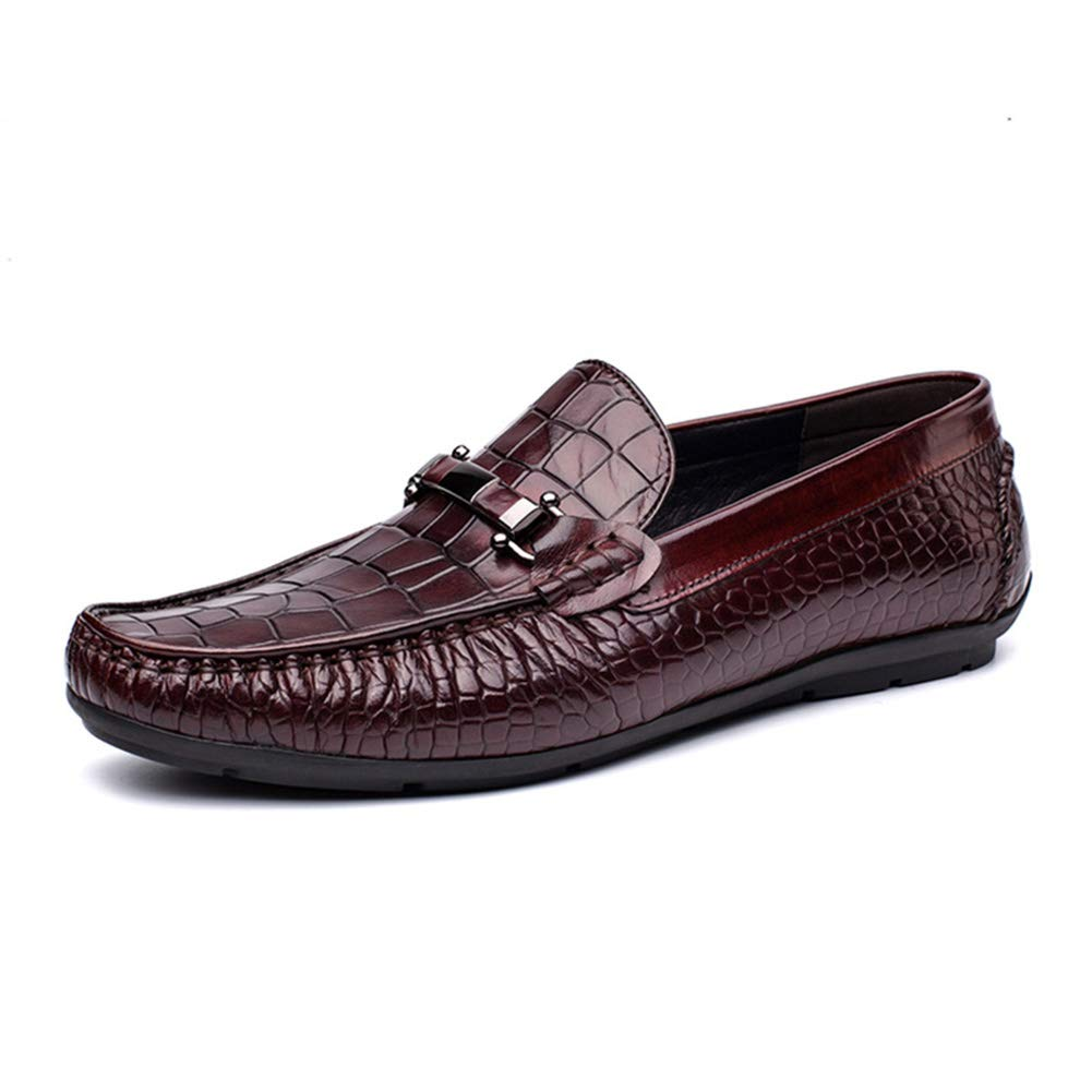 Winered Men's shoes Leather Casual Slip on Loafers Breathable Driving shoes Fashion shoes Loafers & Slip-Ons,black,41