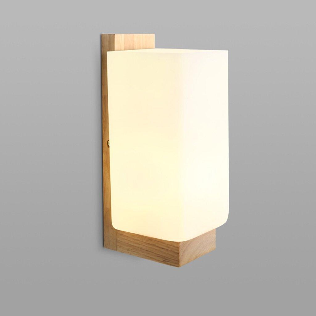 TJTJ シンプルウッドランプホルダーガラスインテリアウォールランプクリエイティブベッドルームベッドサイドランプデコレーションウォールランプ B07S35T6TJ