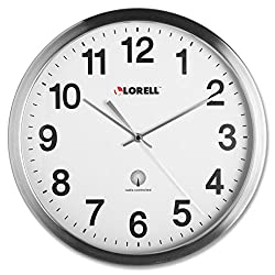 Lorell Brushed Nickel Plated Alarm Wall Clock - Digital - Atomic