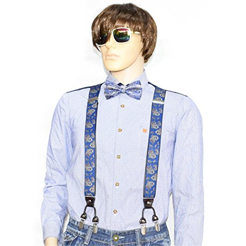 Suspenders Bow Ties Set for Men & Women-6 Clips on Y Shape Dress Suspender Wedding Formal Events Adjustable Braces (New Ladies Tie Belt)