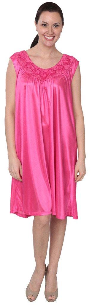 Women's Tricot Long Silk Satin Shiny Sleeveless Nightgown FUF033 Fuschia 3X