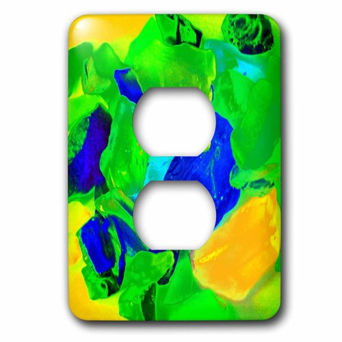 3dRose lsp/_212659/_6Print of Neon Sea Glass 2 Plug Outlet Cover