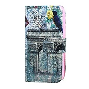 QHY Happy Messenger Pattern PU Leather Full Body Case with Card Holder for iPhone 5/5S