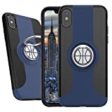 iPhone X Case, Rebex Slim Scratch Resistant Protective Cover with Finger Ring Stand for Apple iPhone X (Black-Navy Blue)