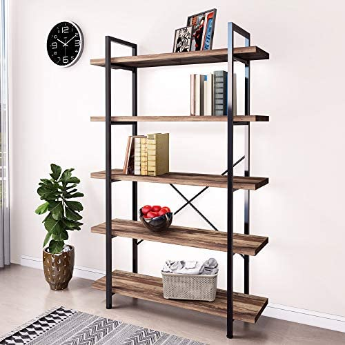 45MinST 5-Tier Vintage Industrial Style Bookcase/Metal and Wood Bookshelf Furniture - the best modern bookcase for the money
