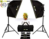 Continuous Photography Studio Lighting Kit - Pair of High Output 5500k LED Lights with integrated Cooling Fan and Handle (Softbox, Diffusers, Stands, and Duffle Bag Included)