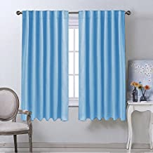 NICETOWN Rod Pocket Curtains / Drapes - Set of Two (2) Thermal Insulated Light Reducing Back Tab Blackout Curtain Panels / Draperies For Bedroom (52 Inch x 63 Inch Blue)