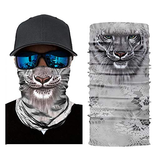 - AUOKER 3D Neck Gaiter, Half Face Mask - Breathable, Comfortable, Fast Dry, Seamless- Dust Protection, Bug Proof Bid Bandana for Cycling Motorcycling Skiing Snowboarding Outdoor Sports - Leopard