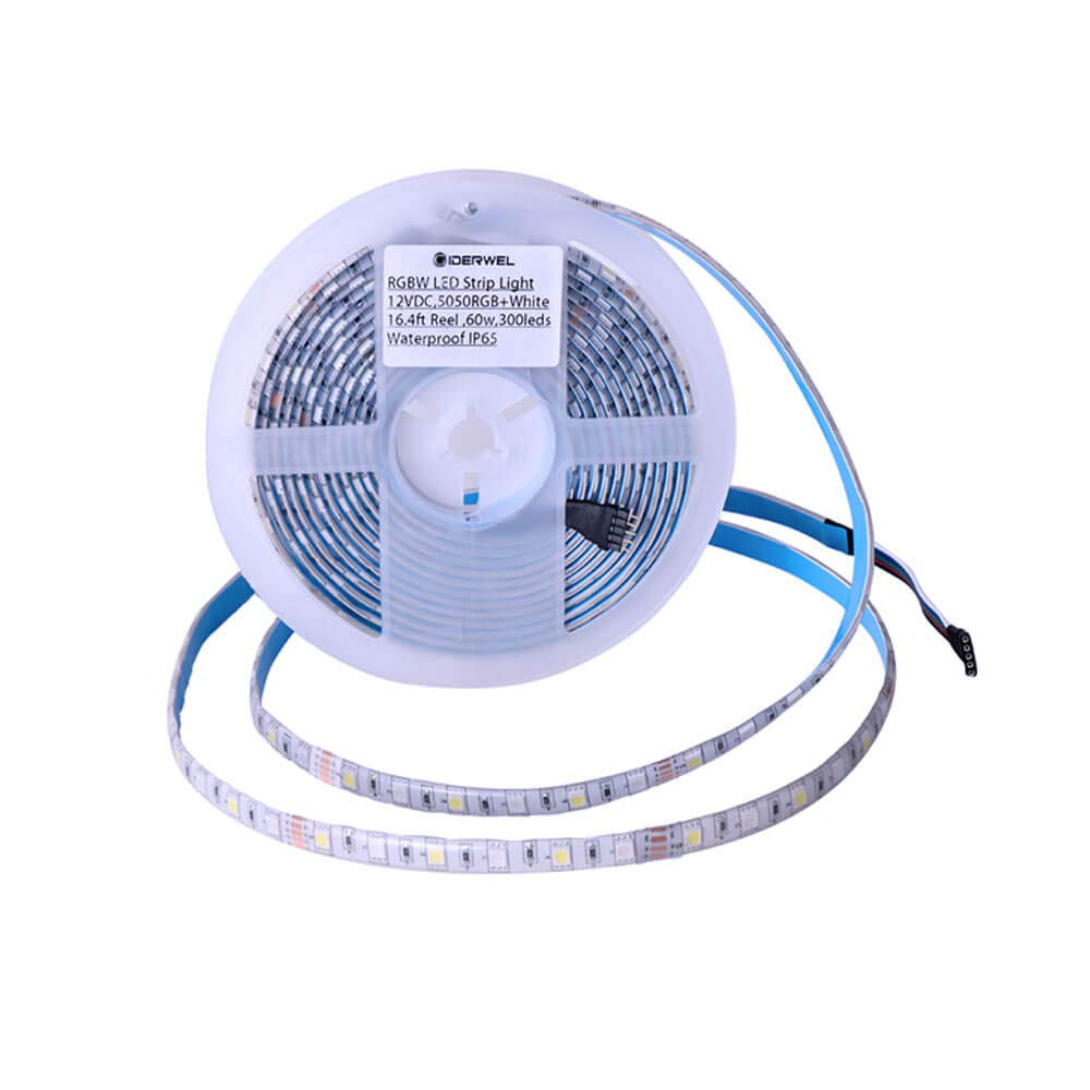 GIDERWEL RGBW LED Strip Light SMD5050 Waterproof Strip Rope Lights 16.4ft 300LEDs Mixed Color Changing Flexible LED Tape Light Supply for Bar Party Home Kitchen