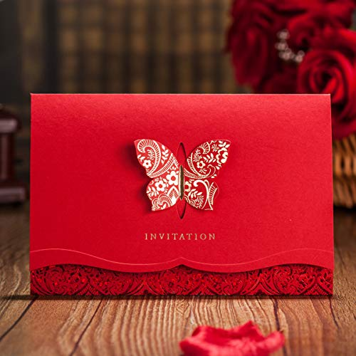 VEMELKA Laser Cut Butterfly Wedding Invitations Cards Red Set of 50pcs Invite Card for Engagement-Graduation-Bridal-Shower CW504 -