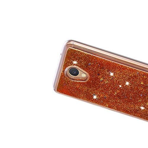 Funda Meizu M5 Note, Caselover 3D Bling Silicona TPU Arena Movediza Carcasa para Meizu M5 Note Glitter Líquido Brillar Lentejuelas Suave Transparente Cristal Protección Caso Anti Arañazos Tapa Choque  Oro
